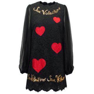Dolce & Gabbana Black Lace and Sequin 'San Valentine' Dress