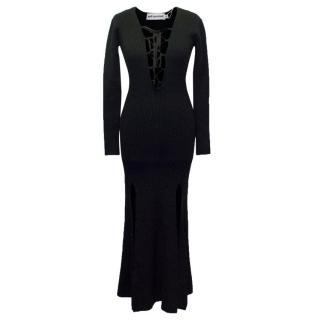 Self-Portrait Black Lace-Up Dress