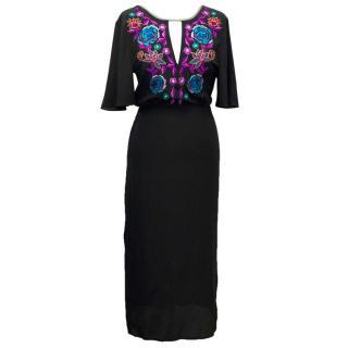 Matthew Williamson Black Embroidered Tie Back Midi Dress