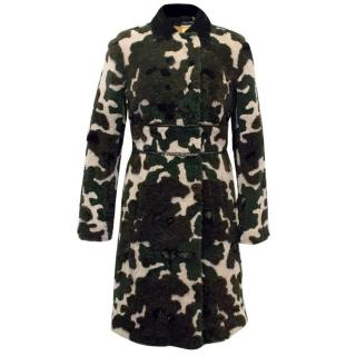 Fay Camouflage Coat with Mink and Rabbit Trimmings
