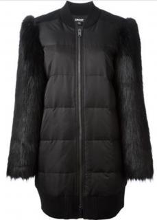 DKNY faux fur sleeve padded coat