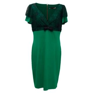 Love Moschino Green with Black Lace Dress