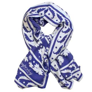 Temperley Blue and White Patterned Scarf