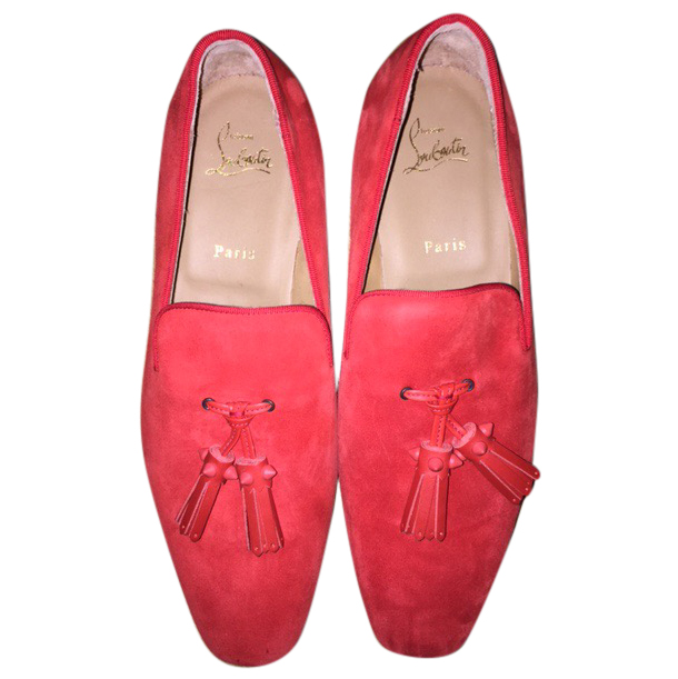 Louboutin Men's Red Suede Loafers