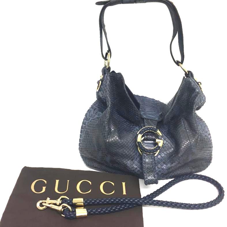 8a11e7d9cbf8 Gucci Deep Blue Large Gwave Python Hobo Bag