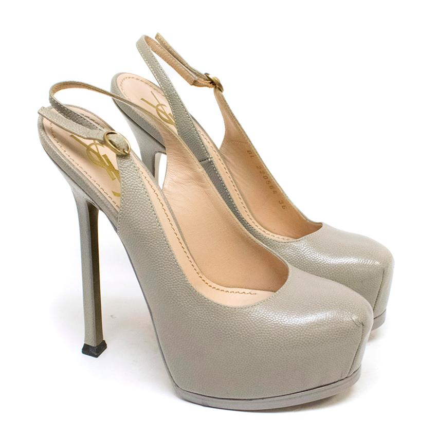 YSL Tribute Two Grey Slingback Textured Leather Pumps