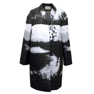 Mary Katrantzou Black, White, and Grey Printed Coat