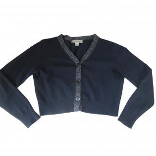 burberry girls cashmere navy silver trim cardigan