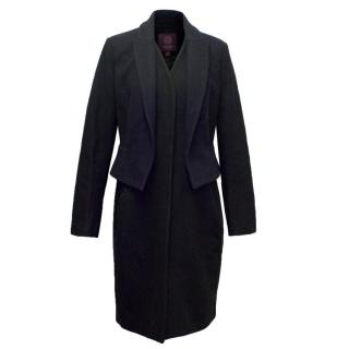 Marchesa Voyage Black and Navy Wool Coat