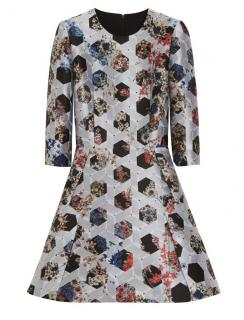 Mulberry Silver Floral Jacquard Dress Brand New Size 10