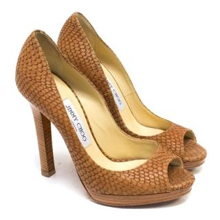 Jimmy Choo Tan Leather Snake Embossed Peep Toe Pumps