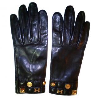 Hermes Black Leather Gloves