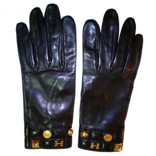 Hermes Black Leather Gloves
