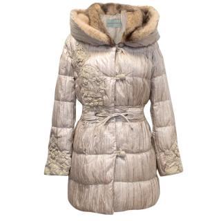 Ermanno Scervino Beige Puffer Coat with Mink Fur Lined Hood
