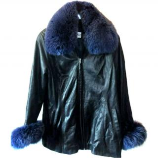 ESCADA  LEATHER JACKET WITH FOX FUR