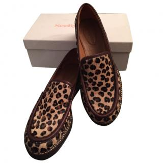 See By Chloe Leopard Print calf hair loafers