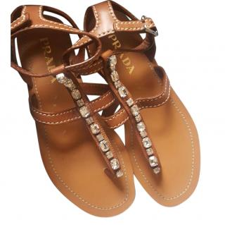 Prada embellished flat tan sandals