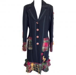 Save the queen black wool coat