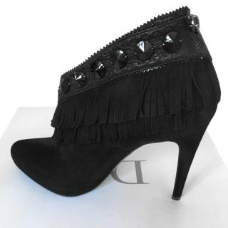 Dior Black Suede Fringed Ankle Boots