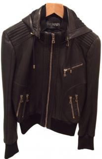 Balmain Leather Hooded Jacket.