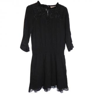 Sea Lace Combo Long Sleeve Dress Black