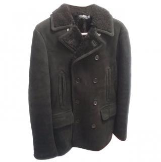Polo Ralph Lauren black shearling pea coat