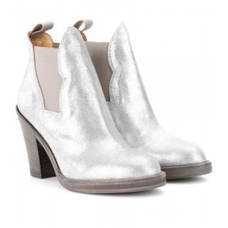 Acne Star Metallic Leather Sliver Ankle Boots
