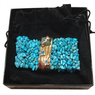 Yves Saint Laurent faux turquoise/gems bracelet