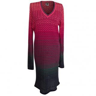 M Missoni multi color mid length wool dress