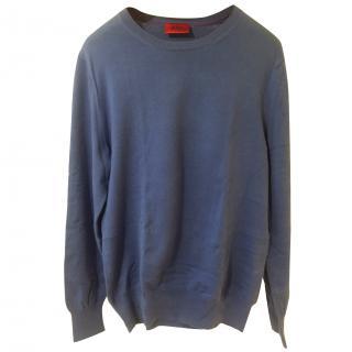 Boss by Hugo Boss Blue Cotton Long Sleeve Sweater