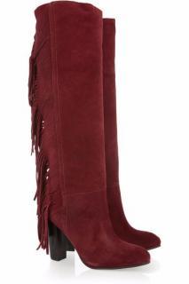 Diane Von Furstenberg  Cranberry Red 'Penn' Fringed Boots
