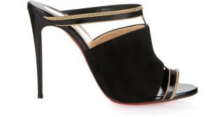 Christian louboutin Akenana black/gold mule suede pumps