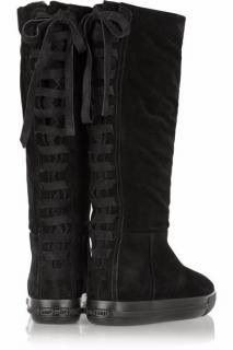 Miu Miu Black Suede Shearling Lined Lace Up Detail Boots