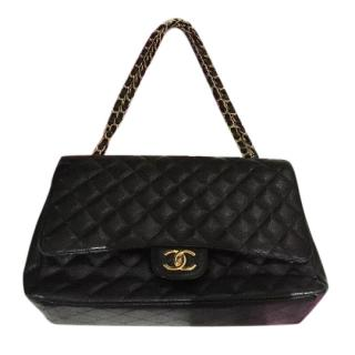 Chanel maxi double flap bag in black caviar wgh.
