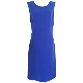 Jil Sander open back indigo mid length silk dress