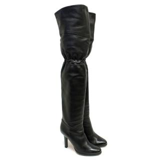 Jimmy Choo Black Over the Knee Heeled Boots
