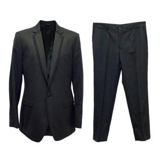 Dolce & Gabbana Black Wool and Silk Blend Pinstripe Suit