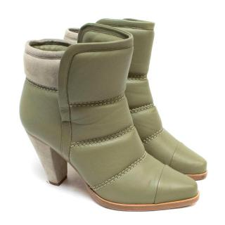 Chloe Olive Green Runway Ankle Boots