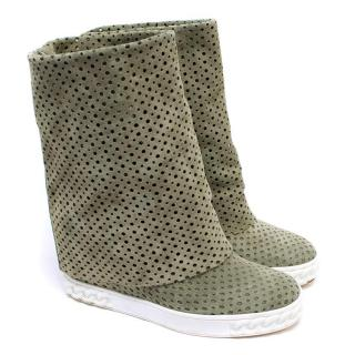 Casadei Perforated Olive Suede Heeled Trainers