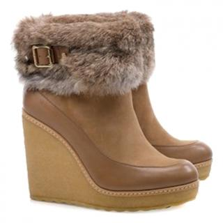 Tory Burch Rabbit Fur Wedge Boots (uk 6.5)