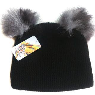 Russian fur pompom hat with silver fox fur