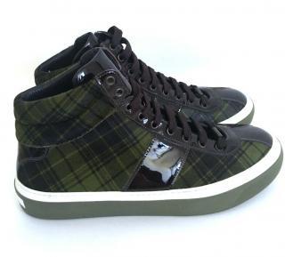 Jimmy Choo AW15 Men's Shoes SIZE 43 tartan pony olive green