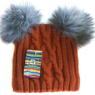 Russian fur pompom hat with silver fox