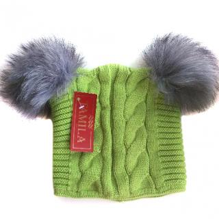 Russian fur pom pom hat with silver fox