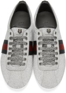 Gucci Silver Glitter Low Top Trainers with receipt