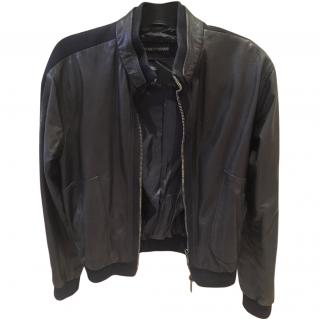 Emporio Armani Men's Black Leather Jacket with Blue Fabric Detail