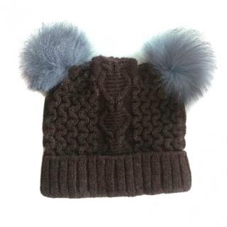 Russian Fur Company hat with silver fox pom poms