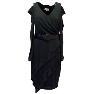 Mikael Aghal Black Long Sleeve Dress with Leather Belt