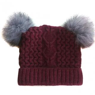 Russian fur pom pom hat with silver fox