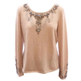 ESCADA beige pink cashmere jeweled crystal sweater